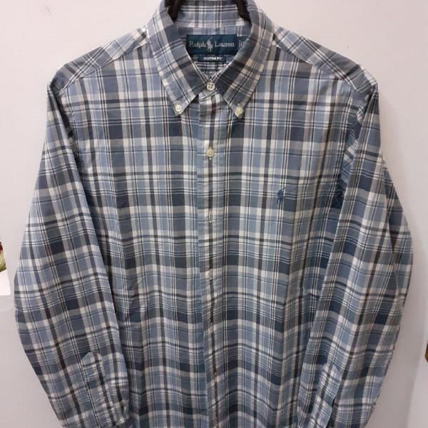 Ralph lauren, camisa s de algodão xadrez azul custom fit