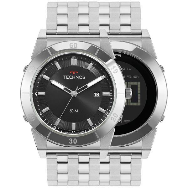 Relógio technos masculino curvas prata