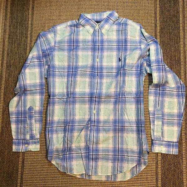 Camisa social xadre classic fit ralph lauren azul, verde e