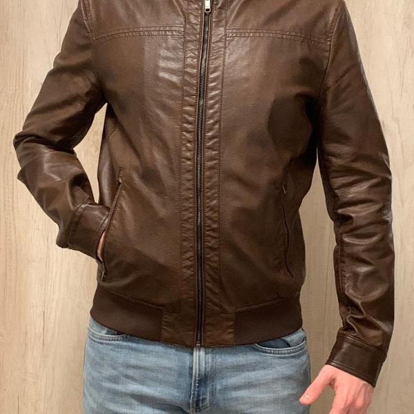 Jaqueta de couro ecológico marrom - zara
