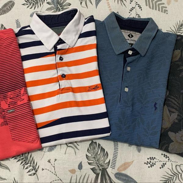Kit com 4 camisetas polo