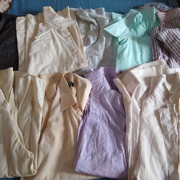 Lote com 20 camisas sociais manga longa