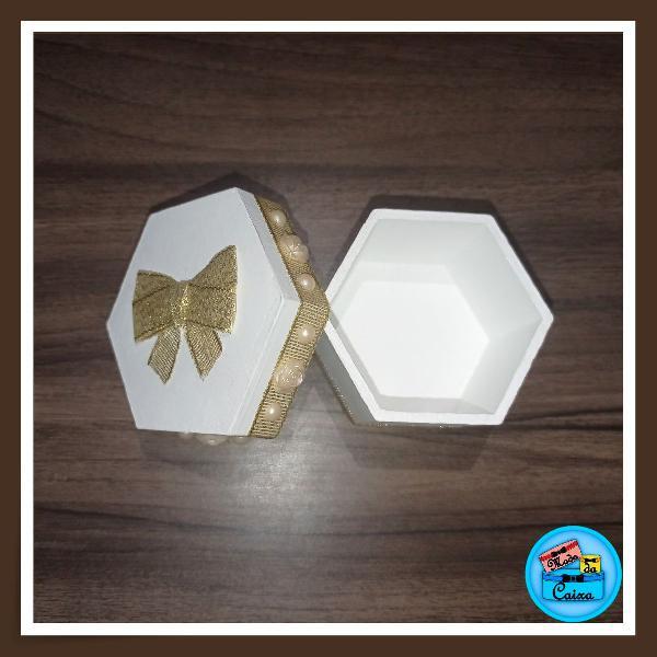 Porta jóias branco dourado - hexagonal