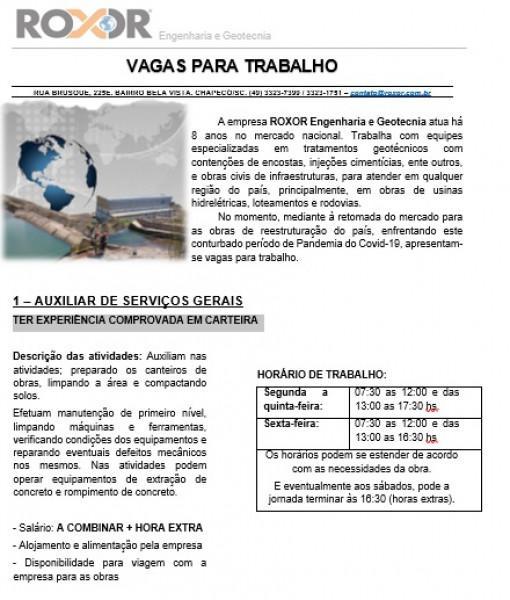 Vaga de emprego - auxiliar serviços gerais - chapecó/sc