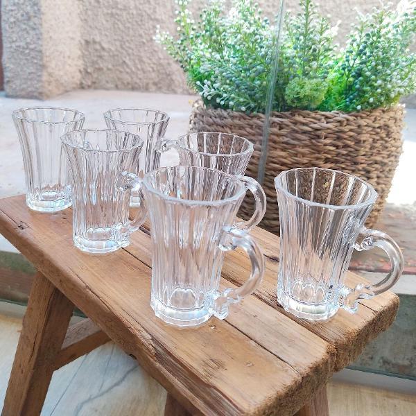 Conjunto 6 mini canecas de vidro