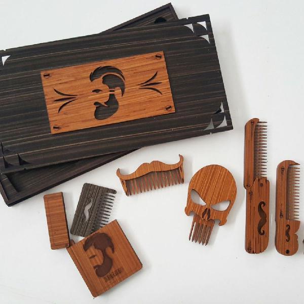 Kit pentes madeira ecológico sustentáve barbearia