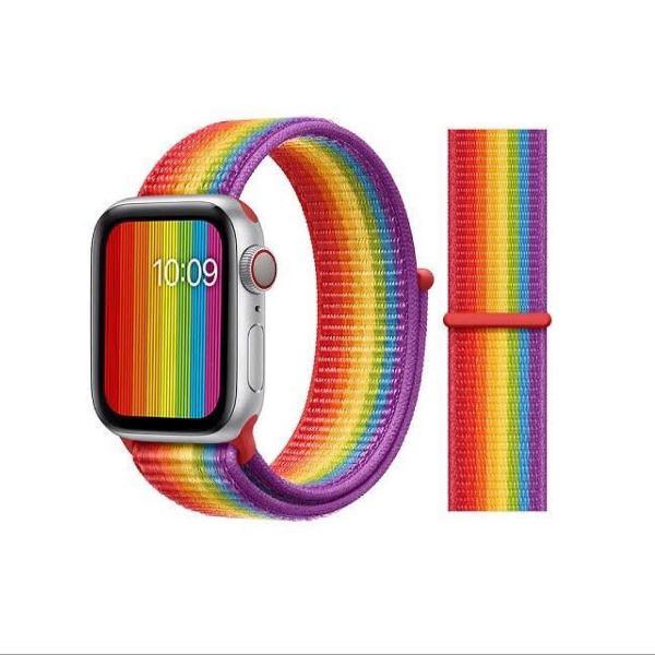 Pulseira nylon para apple watch 38/40mm 42/44mm (arco íris)