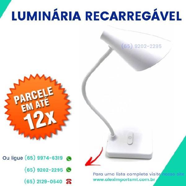 Luminária recarregável iluminador de mesa luminador luz