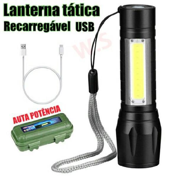 Mini lanterna tática militar com 2 leds longo alcance