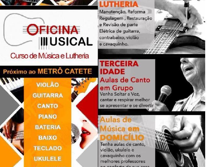 Aulas de violão, guitarra, baixo, cavaquinho, canto e