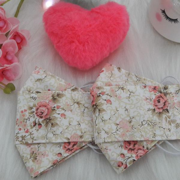 Máscara de tecido flor oriental 100% algodão dupla camada