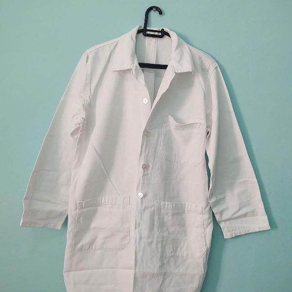 Jaleco branco manga longa 100% algodão