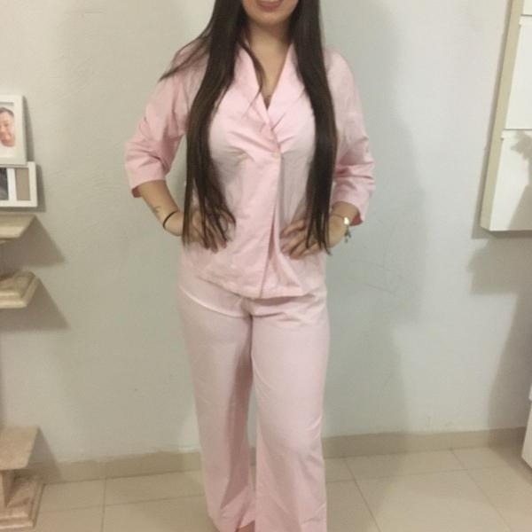 Pijama em algodão listrado rosa bebê da santa preguiça