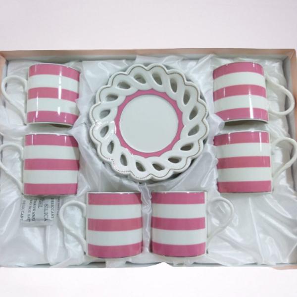 Jogo xícaras de cerâmica listradas (rosa)