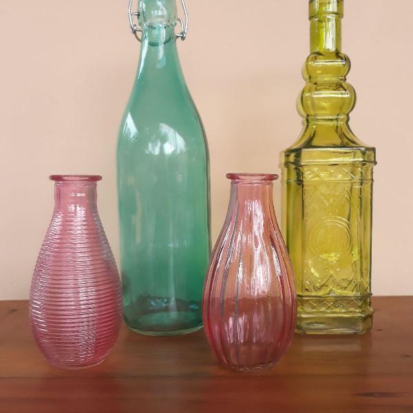 Kit garrafas decorativas vidro