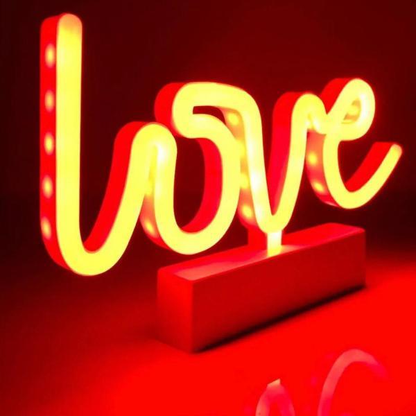 Luminária letreiro love led neon abajur de mesa decoração