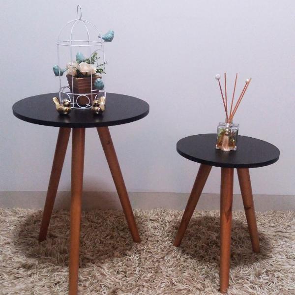 Mesas de canto lateral mesa de apoio pé palito preta