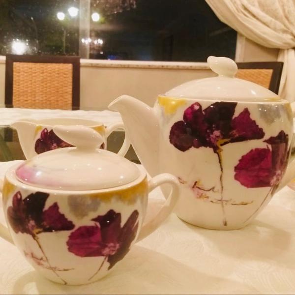 Jogo de chá português vista alegre lilac