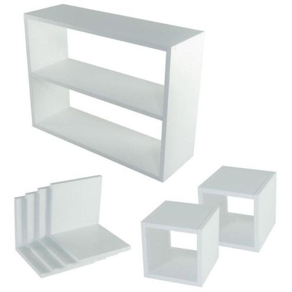 Kit 7 peças nichos branco cubo l prateleira mdf 15cm
