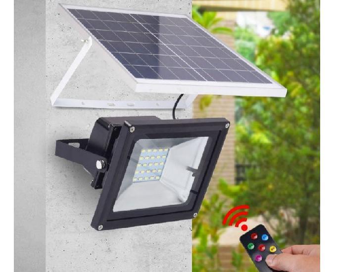 Refletor solar 10w energia bateria controle remoto completo