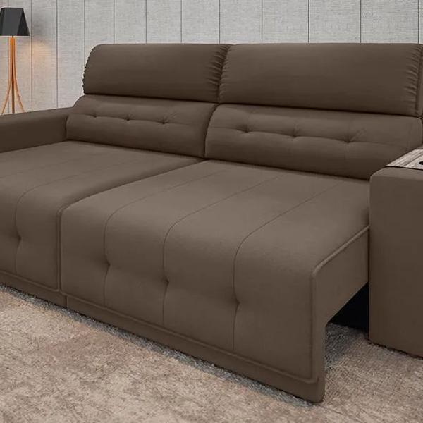 Sofá 5 lugares retrátil e reclinável abruzzo suede marrom