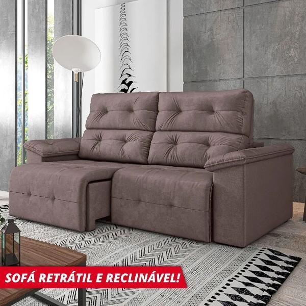Sofá retrátil reclinável 3 lugares marrocos machiatto