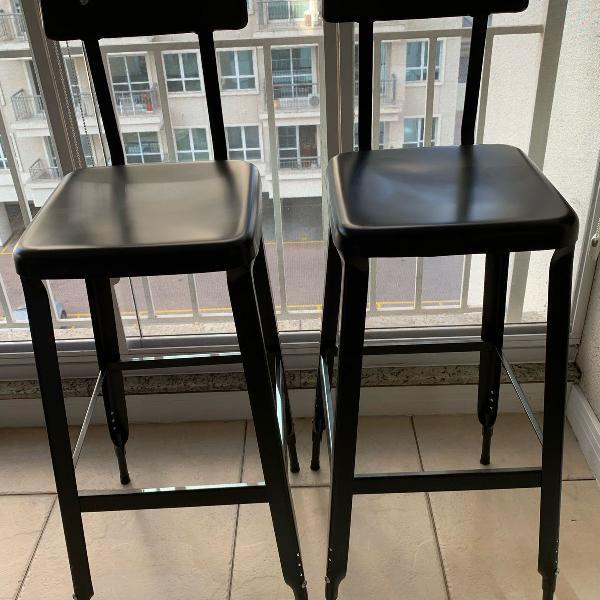 Kit duas banquetas de metal com regulagem de altura - tok