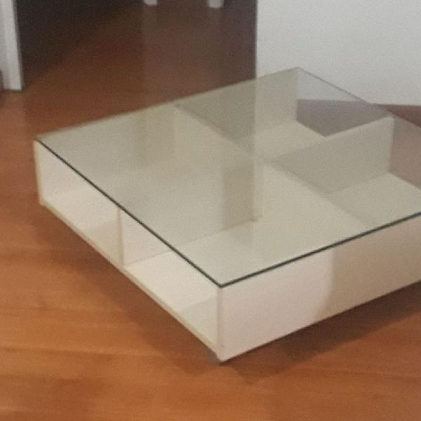 Mesa centro/canto com tampo vidro