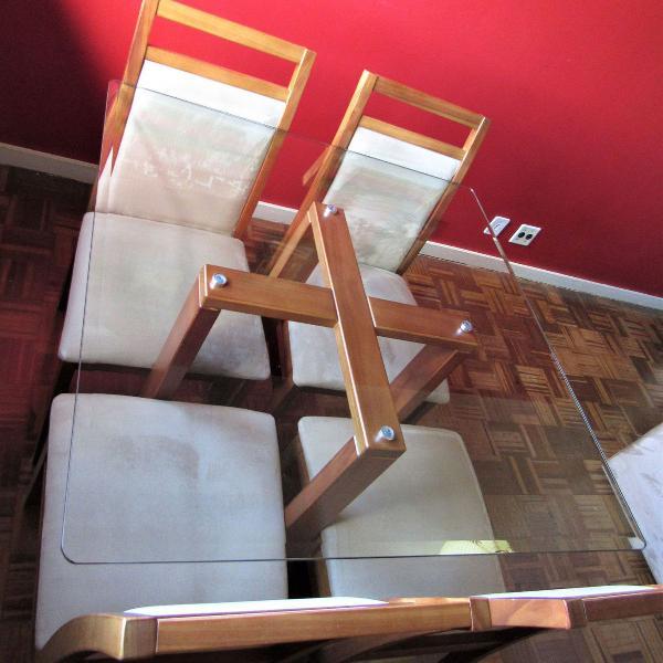 Mesa de jantar com 4 lugares, quadrada tampo de vidro