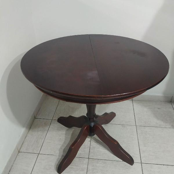 Mesa redonda expansível em madeira maciça com 4 cadeiras