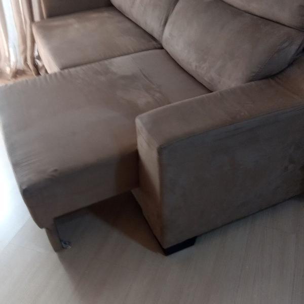 Sofá de suede usado super conservado cor castor (2,10 m)