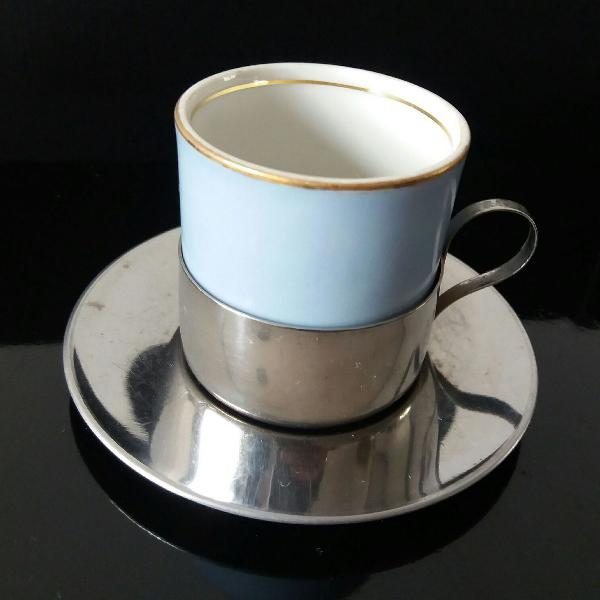 Xícara de café porcelana mauá com pires e porta xícara