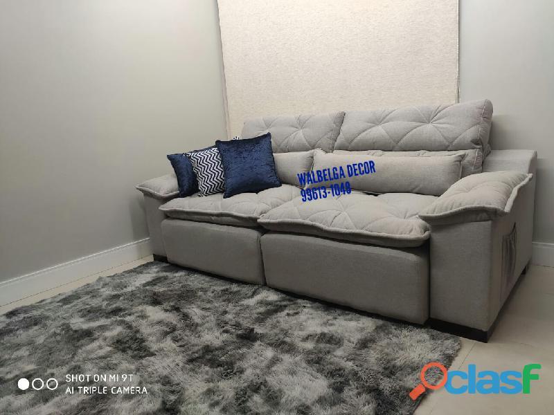 Sofá retrátil e reclinável assento mola ensacadas com pillow top enchimento fibras com entrada usb