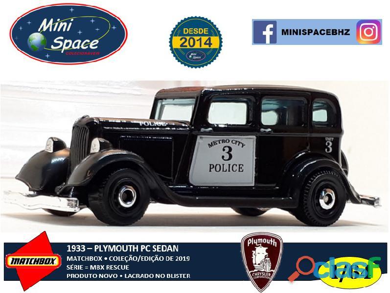 Matchbox 1933 Phymouth Sedan Preto Depto Polícia 1/64