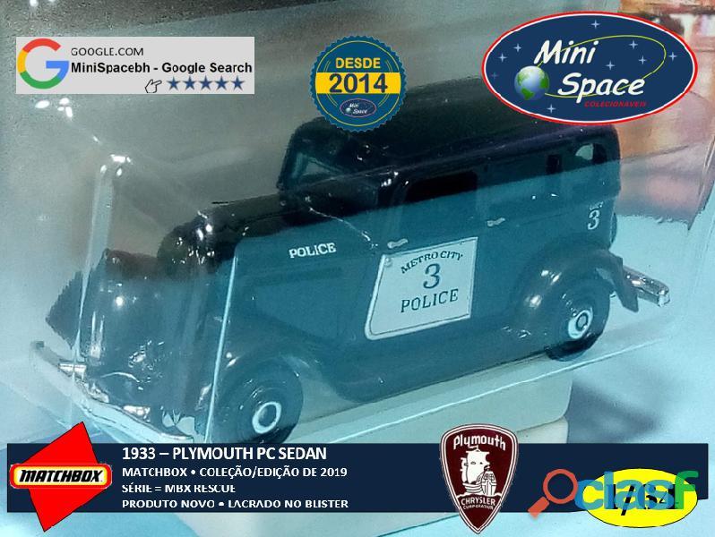 Matchbox 1933 Phymouth Sedan Preto Depto Polícia 1/64 2