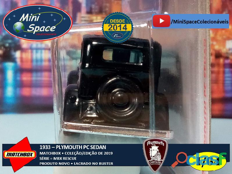 Matchbox 1933 Phymouth Sedan Preto Depto Polícia 1/64 3