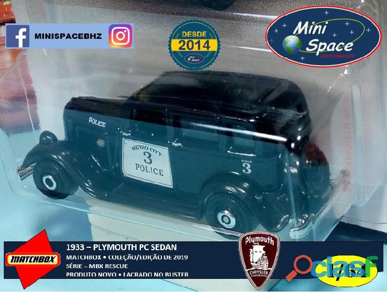 Matchbox 1933 Phymouth Sedan Preto Depto Polícia 1/64 4