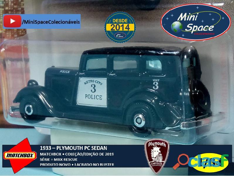 Matchbox 1933 Phymouth Sedan Preto Depto Polícia 1/64 6