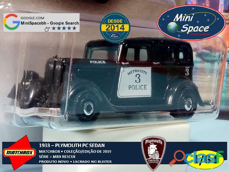 Matchbox 1933 Phymouth Sedan Preto Depto Polícia 1/64 8