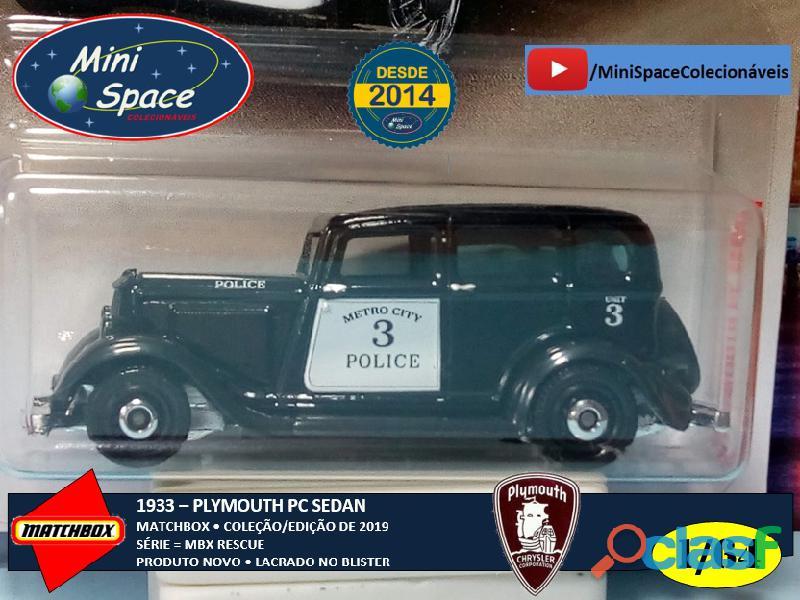Matchbox 1933 Phymouth Sedan Preto Depto Polícia 1/64 9