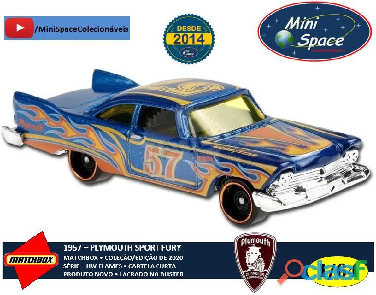 Hot Wheels 1957 Plymouth Fury cor Azul Flames 1/64