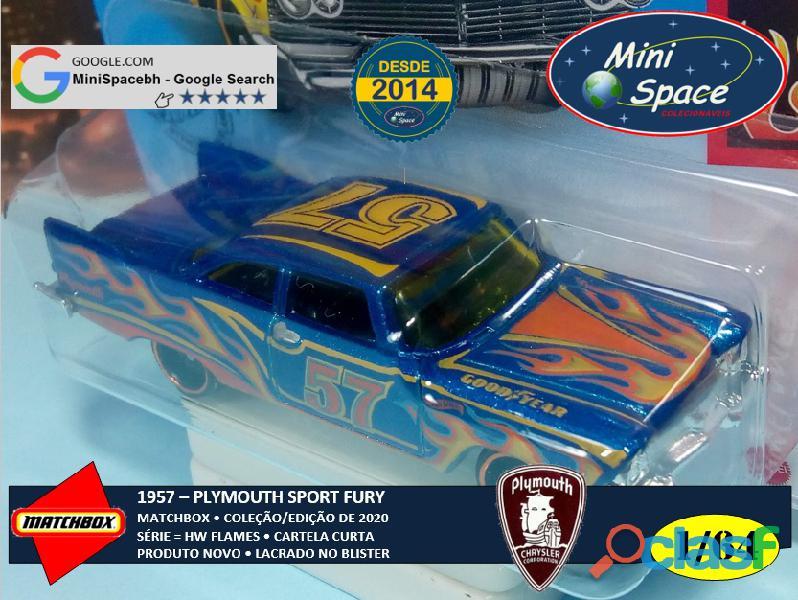 Hot Wheels 1957 Plymouth Fury cor Azul Flames 1/64 3