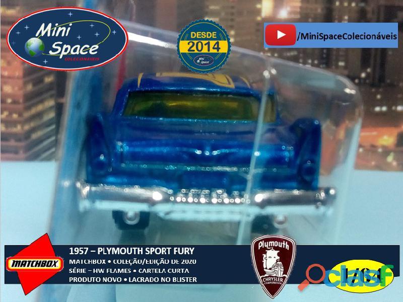 Hot Wheels 1957 Plymouth Fury cor Azul Flames 1/64 4