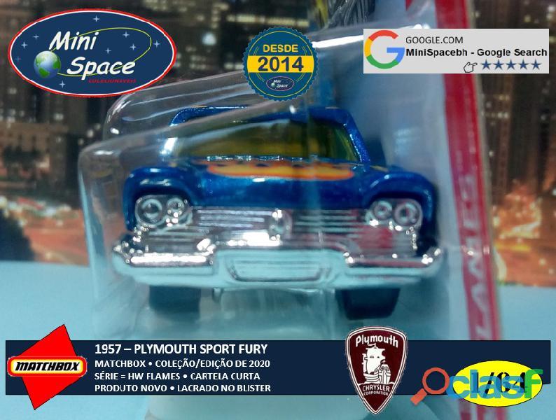 Hot Wheels 1957 Plymouth Fury cor Azul Flames 1/64 6