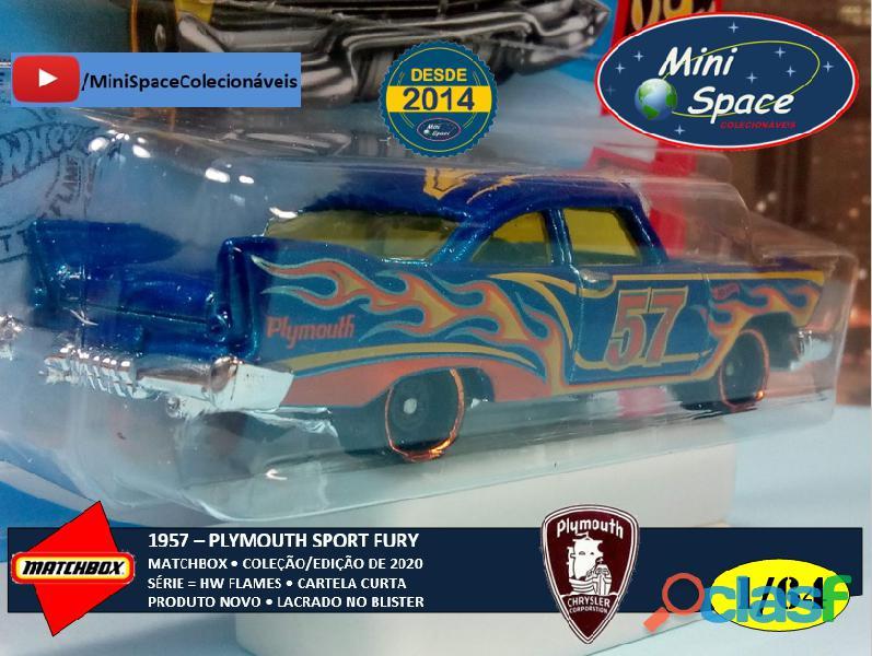 Hot Wheels 1957 Plymouth Fury cor Azul Flames 1/64 7