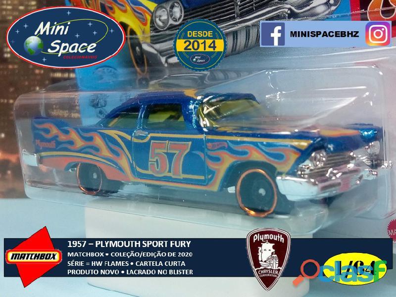 Hot Wheels 1957 Plymouth Fury cor Azul Flames 1/64 8