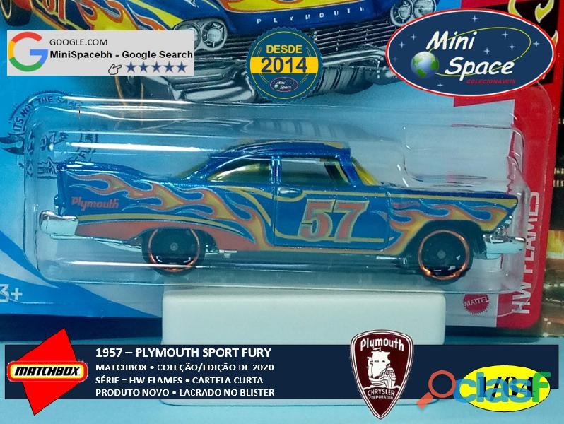 Hot Wheels 1957 Plymouth Fury cor Azul Flames 1/64 9
