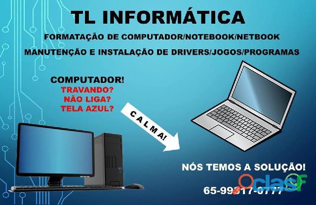 Tl informática formatação e manutenção de computador/not/net
