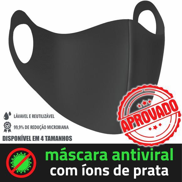 03 máscaras proteção antiviral c/ íons de prata modelo