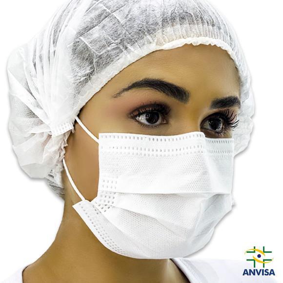 50 máscara cirúrgica descartável tripla c/ elástico e